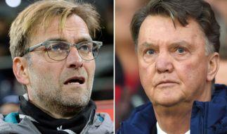 Duell zwischen Jürgen Klopp und Louis van Gaal im Spiel FC Liverpool gegen Manchester United. (Foto)