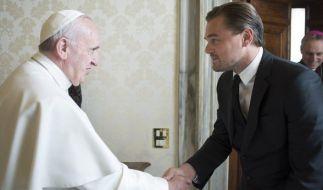 Papst Franziskus trifft Schauspieler Leonardo DiCaprio. (Foto)