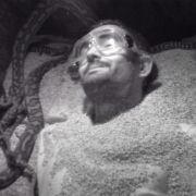 In der Ruhe liegt die Kraft. In der dunklen Schlangengrube bleibt Menderes Bagci tiefenentspannt.