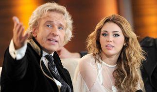 """Thomas Gottschalk und Miley Cyrus lernten sich bereits bei """"Wetten, dass ..?"""" kennen. (Foto)"""