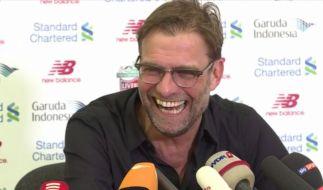 Htte auf der einstündigen Pressekonferenz vor deutschen Journalisten sichtlich Spaß: Liverpool-Coach Jürgen Klopp. (Foto)