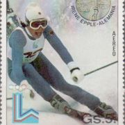 Irene Epples Paradedisziplin war der Riesenslalom. In Paraguay wurde sie sogar auf einer Briefmarke abgebildet.