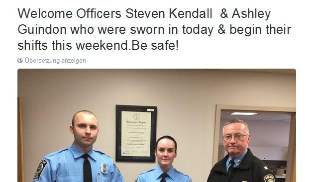 """""""Herzlich WIllkommen Officer Steven Kendall & Ashley Guindon, die heute vereidigt wurden & diese Woche ihren Dienst beginnen. Pass auf euch auf!"""" twitterte das Prince William County Police Department nur wenige Stunden vor ihrem Tod. (Foto)"""