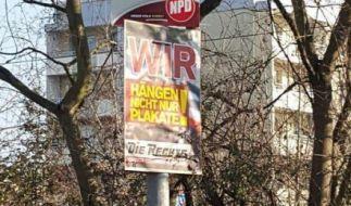 """""""Wir hängen nicht nur Plakate"""" Mit diesem Plakat vor einer Asylunterkunft schockt die Partei Die Rechte derzeit in Sachsen-Anhalt. (Foto)"""