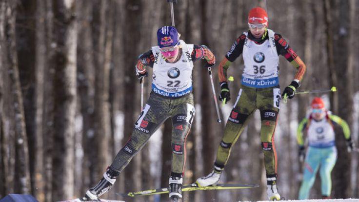 Die deutschen Biathleten gehen am Sonntag auf Verfolgung. (Foto)
