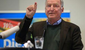 Alexander Gauland, Sprecher der Alternative für Deutschland, während des Wahlkampfabschlusses in Magdeburg. (Foto)