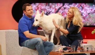Martin Rütter und Sonya Kraus mit Studiohund Gaia. (Foto)