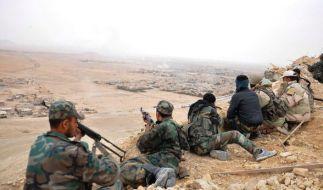 Syrische Truppen während der Einname von Palmyra. (Foto)