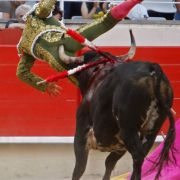 In die Luft geschleudert und aufgespießt: Lopez Chaves wird im Kampf gegen den Bullen schwer verletzt.