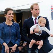 Nach neun Tagen in Neuseeland im April 2014 verlassen Herzogin Catherine, Prinz William und Klein-George das Land standesgemäß per Privatjet.