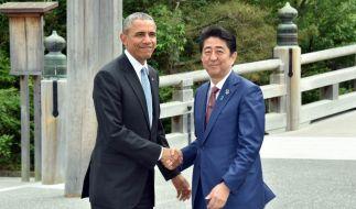 """US-Präsident Barack Obama (links) und JapansPremierminister Shinzo Abe (rechts) wollen zeigen, dass """"frühere Feinde die stärksten Verbündeten werden können"""". (Foto)"""