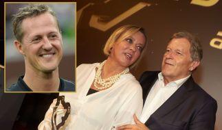 Schumi-Managerin Sabine Kehm nahm den Preis für Michael Schumacher entgegen. Weggefährte Norbert Haug hielt eine emotionale Laudatio. (Foto)