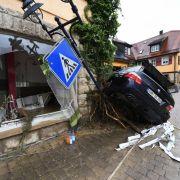 Braunsbach am 30. Mai 2016: Tagelange Unwetter mit Starkregen haben erhebliche Schäden angerichtet.