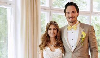Das Brautpaar Cathy und Mats Hummels am 15.06.2015 bei ihrer Hochzeit in München. (Foto)