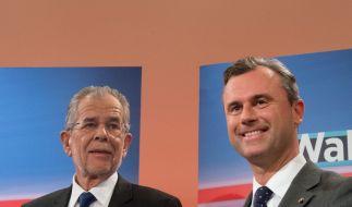 Der unabhängige österreichische Präsidentschaftskandidat Alexander Van der Bellen (links) und der FPÖ-Kandidat Norbert Hofer am 22. Mai 2016. (Foto)