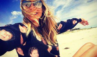 Schwebt auf Wolke sieben: Heidi Klum mit Freund Vito Schnabel. (Foto)