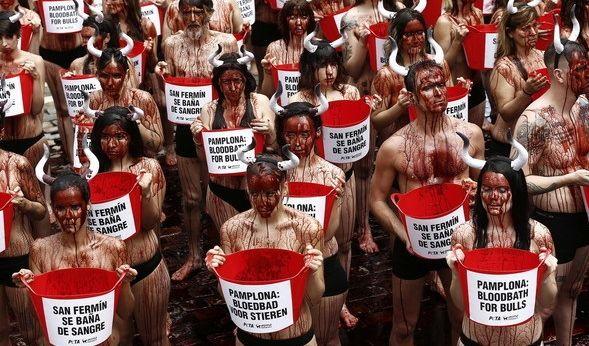 Rund einhundert Menschen in Pamplona haben gegen das Stiertreiben protestiert.