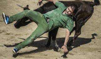 Ein Mann wird beinahe von einem Stier aufgespießt. (Foto)