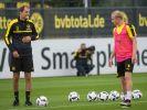 Thomas Tuchel zum Trainingsauftakt des BVB mit Neuzugang Sebastian Rode. (Foto)