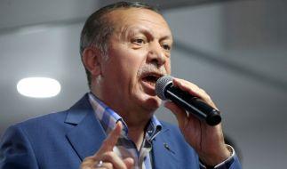 Der türkische Präsident Recep Tayyip Erdogan spricht vor seinen Anhängern nach dem gescheiterten Putschversuch. (Foto)