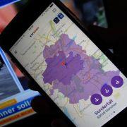 Auf dem Smartphone-Warnsystem Katwarn ist München lila markiert. Die Landeshauptstadt hat den
