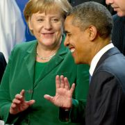 Barack Obama betonte auf einer Pressekonferenz in diesem Jahr Merkels Sinn für Humor.