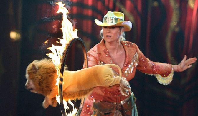 Im Circus Krone versuchte sich Kiewel auch schon mal als Dresseurin bei