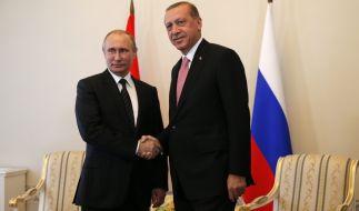 Der türkische Präsident Erdogan war am Dienstagnachmittag zu Gast in St. Petersburg. (Foto)