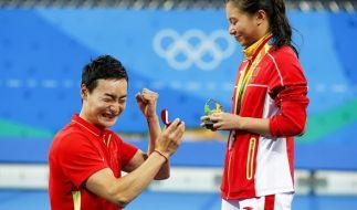 He Zi hat sich bei Olympia 2016 in Rio mit Qin Kai verlobt. (Foto)