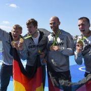 Hans Gruhne, Karl Schultze, Lauritz Schoof und Philipp Wende: Gold im Rudern, Doppelvierer der Männer