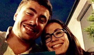 David Storl und seine Freundin Marie Richter samt eindeutiger Botschaft (siehe Vollbild). (Foto)