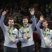 Timo Boll, Dimitrij Ovtcharov und Bastian Steger: Bronze im Tischtennis-Teamwettbewerb