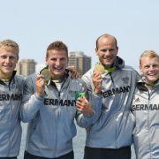 Max Rendschmidt, Tom Liebscher, Max Hoff und Marcus Gross: Gold im Kajak-Vierer