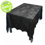 Für die eher düster orientierten Halloween-Fans ist diese nachtschwarze Tischdecke im Gothic-Style perfekt. Gruselige Spinnen auf dem Tischtuch machen den Effekt komplett.