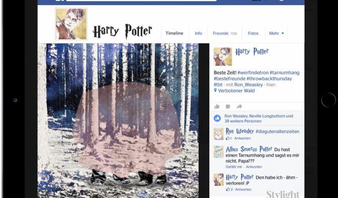 Was würde Harry Potter wohl posten, wenn er Facebook hätte? Hier sehen wir es: Mit einem #throwback-Foto schwelgt er mit Ron Weasley in Erinnerungen an #diegutenaltenzeiten. (Foto)