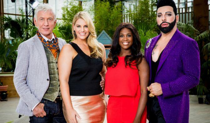 """Die Jury-Mitglieder der RTL2-Castingshow """"Curvy Supermodel"""": Ted Linow, Angelina Kirsch, Motsi Mabuse und Harald Glööckler (von links). (Foto)"""