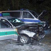 Brandanschlag auf Polizeiwagen in Dresden (Foto)