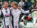 Die Formel-1-Piloten Michael Schumacher und Sebastian Vettel (r.) 2011 zur 50-Jahr-Feier des Kart-Clubs Kerpen. (Foto)