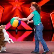 Tanja Hartmann (33) und ihr Australian Shepherd Lucy führen Trickdogging vor.