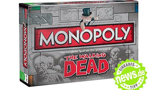 """Wenn der Spieleklassiker Monopoly auf eine packende Zombie-Jagd trifft, sind kurzweilige Spielstunden mit Freunden garantiert. Die Monopoly-Sonderedition für Fans von """"The Walking Dead"""" ist derzeit bei Amazon.de ab 33,01 Euro zu haben. (Foto)"""