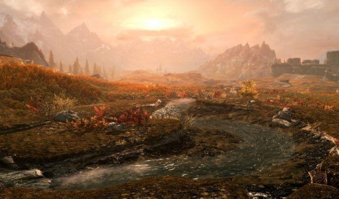 """Mit der """"Skyrim""""-Special Edition verpasst Bethesda Himmelsrand eine Schönheitskur. Dabei setzt das Spiel neben einer insgesamt überarbeiteten Grafik unter anderem auf neue Wasser- und Schnee-Shader. (Foto)"""