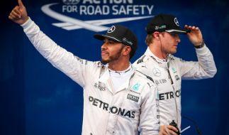 Hamilton (li) und Rosberg gelten auch in Sao Paulo als Favoriten auf den Sieg. (Foto)