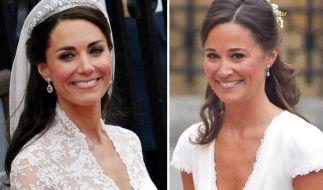 Kate Middleton und ihre Schwester Pippa waren die unbestrittenen Stars bei der royalen Hochzeit im April 2011 - doch auch als junge Mädchen stahlen die beiden Schwestern auf der Hochzeit ihres Onkels als Blumenmädchen bereits allen die Schau. (Foto)