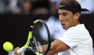 Viertelfinale am 25.01.2017 in Melbourne (Australien). Rafael Nadal aus Spanien in Aktion gegen Raonic aus Kanada. (Foto)