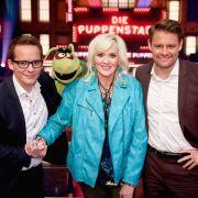 Die Jury von die Puppenstars: Schauspielerin Gaby Köster, Schauspieler und Komiker Max Giermann und Puppenspieler Martin Reinl.