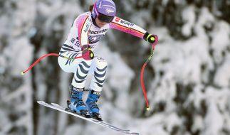 Viktoria Rebensburg am 20. Januar im zweiten Abfahrtstraining der Damen in Garmisch-Partenkirchen. (Foto)