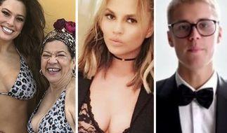 Diese Stars hatten in dieser Woche allen Grund zum Strahlen (v.l.n.r. Ashley Graham, Chrissy Teigen, Justin Bieber). (Foto)