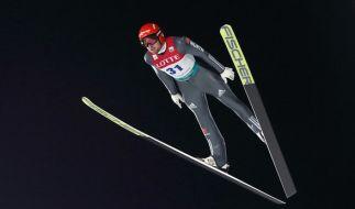 Beim Skifliegen in Pyeongchang treten die deutschen Wintersportler in voller Mannschaftsstärke an. (Foto)