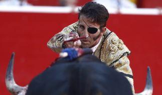 Torero José Padilla, hier bei einem Stierkampf im Juli 2016, wurde bei einem Schaukampf in Valencia von einem Stier gerammt und schwer verletzt. (Foto)