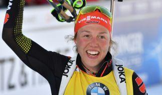 Die deutsche Biathletin Laura Dahlmeier rechnet sich für den Massenstart beim Biathlon Weltcup 2017 in Oslo gute Chancen aus. (Foto)